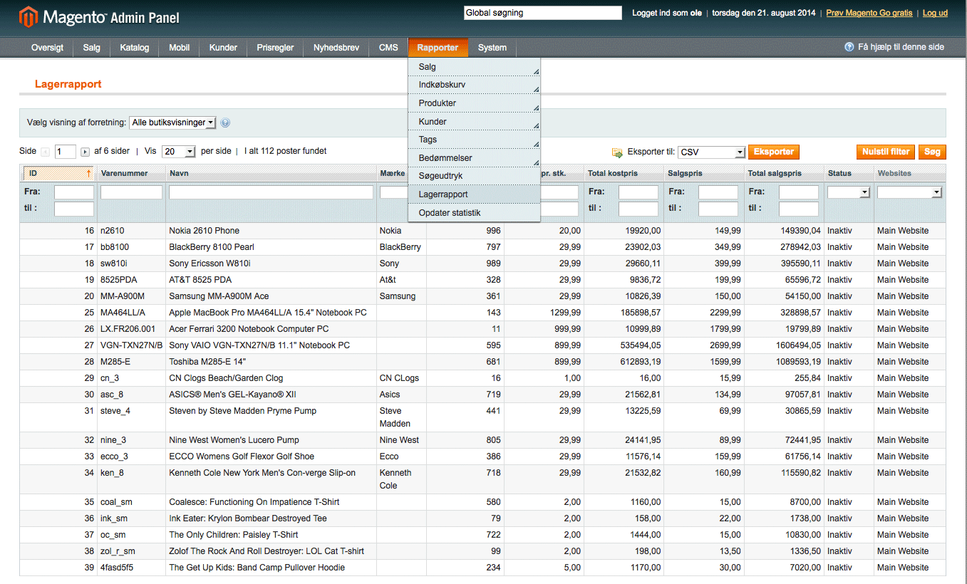 Magento lagerrapport - TRIC modulet opretter en undermenu i Rapporter