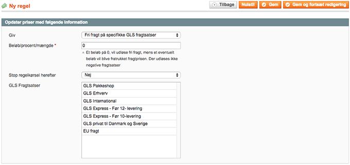 Anvend GLS fragtsatser i Magento prisregler