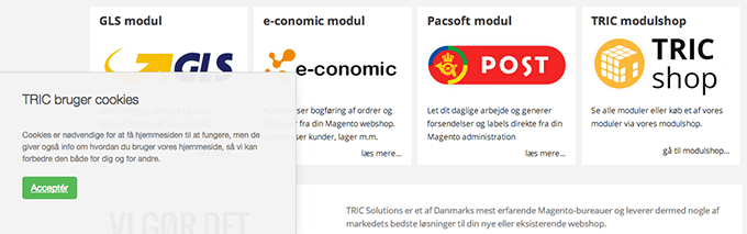 Få cookieinfo med CookieNote > gratis Magento modul fra TRIC Solutions