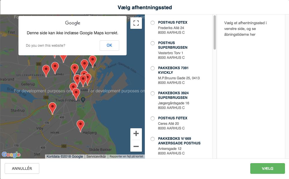 Manglende API nøgle til Google Maps